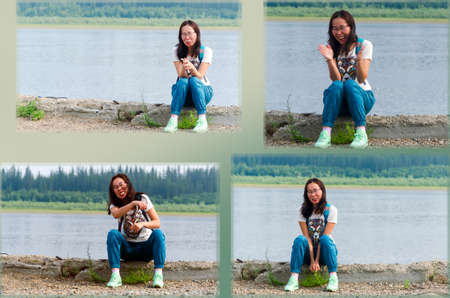 Collage of four photos of Yakut girls Asian grimace on the banks of the Northern river and the taiga forest with different emotions.