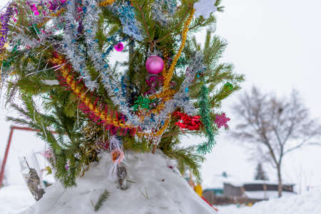 A Christmas tree stands decorated with garlands and tinsel in a snowdrift on a street in the Russian city in the courtyard of a residential building with clock cottages for the new year holiday.