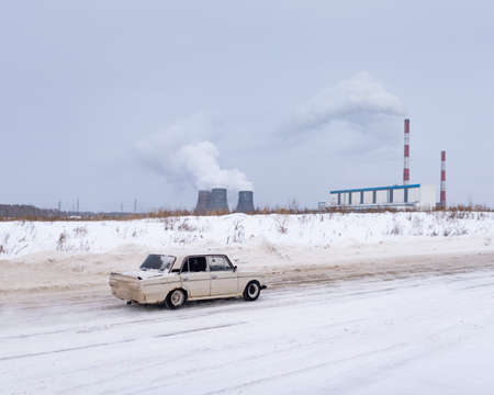 Russia, Novosibirsk - November 30, 2019. Russian old white car
