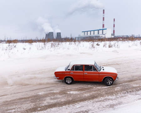 Russia, Novosibirsk - November 30, 2019. Russian old low car