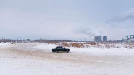 Russia, Novosibirsk - November 30, 2019. Russian low dark car