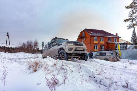 Novosibirsk, Russia -March 5, 2020. Russian white SUV