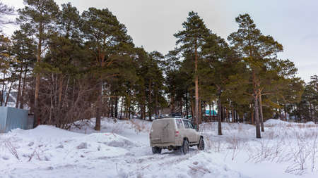Russia, Novosibirsk-March 5, 2020. Russian white SUV