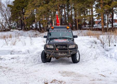 Russia, Novosibirsk-March 5, 2020. Prepared for off- road evacuation Russian 4x4 SUV
