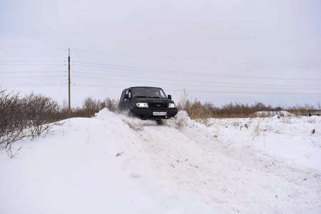 Novosibirsk, Russia -March 5, 2020. Russian black 4x4 SUV
