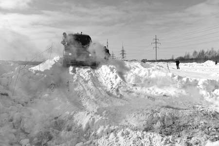 Russia, Novosibirsk - March 13, 2020. Black and white photo of an Offroad SUV