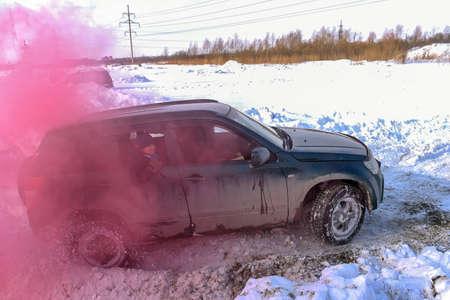 Russia, Novosibirsk-March 13, 2020. Off-road off-road car