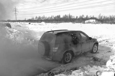 Russia, Novosibirsk-March 13, 2020. Black-and-white photo of an off-Road SUV