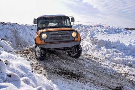 Russia, Novosibirsk-March 23, 2020. Russian offroad SUV