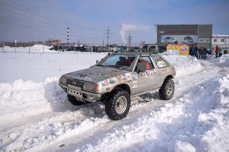 Russia, Novosibirsk-March 23, 2020. An old offroad car