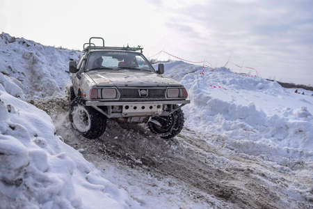 Russia, Novosibirsk-March 23, 2020. The old ffroad car