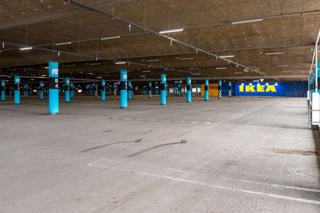 Novosibirsk, Russia-April 12, 2020. Empty Parking lot of the IKEA store due to the quarantine without cars and people.