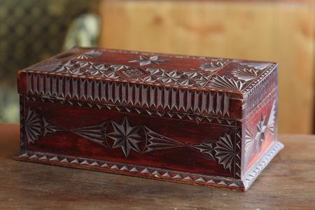 Antique wooden hand made casket, old