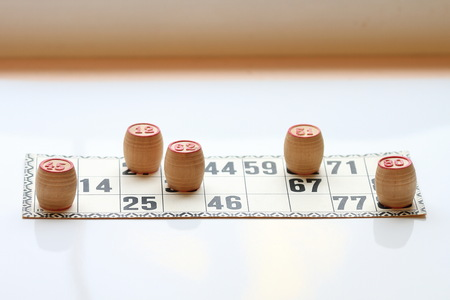 Vintage board game lotto, kegs, wooden, old