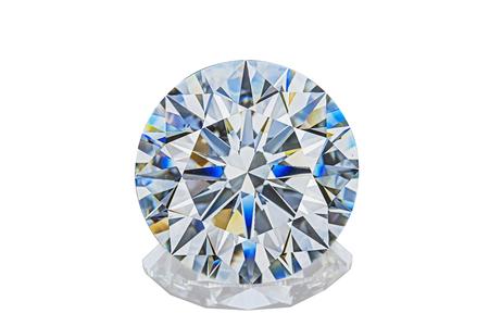 Luxury colorless transparent sparkling gemstone round shape cut diamond  isolated on white background. Foto de archivo