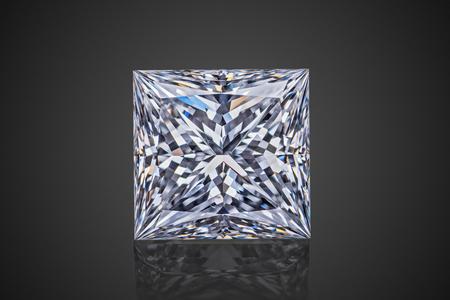 Luxury colorless transparent sparkling gemstone square shape princess cut diamond  isolated on black background.