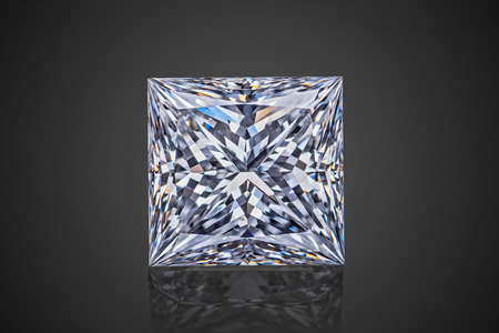 Luxury colorless transparent sparkling gemstone square shape princess cut diamond  isolated on black background.