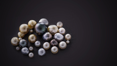 Set of pearl collage on black background.