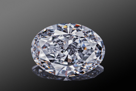 Luxury colorless transparent sparkling gemstone  shape oval cut diamond  isolated on black background.