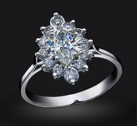SLuxury diamond ring isolated on black background.