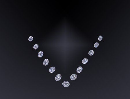 Set of luxury colorless transparent sparkling gemstones round cut shape diamonds collage isolated on black background.