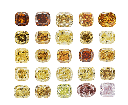Set of luxury different colors transparent sparkling diamonds of various cut shape isolated on white background.