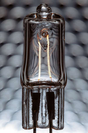 powered: Halogen lamp powered with visible incandescent filaments inside