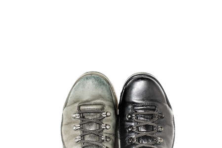 scuff: Shoes before and after handling shoe polish