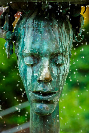 karlovy: Crying fountain with termal water in Karlovy Vary, Czech Republic.