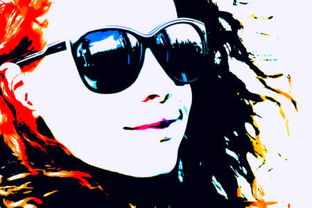 hangout: Pop Art Woman with Glasses. Modern style watercolor