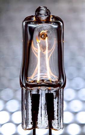 halogen: Halogen lamp powered with visible incandescent filaments inside