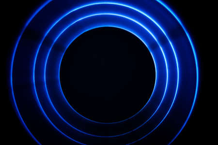 Sound blue waves in tunnel in the dark Stock Photo