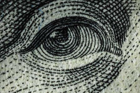 reserve: Fragment of a hundred dollar bill closeup Stock Photo