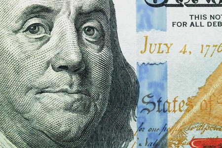fragmented: Fragment of a hundred dollar bill closeup Stock Photo