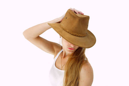 Young lady in cowboy hat Stock Photo