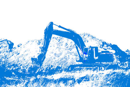 Industrial digger with bucket standing idle on hardcore Stock Photo