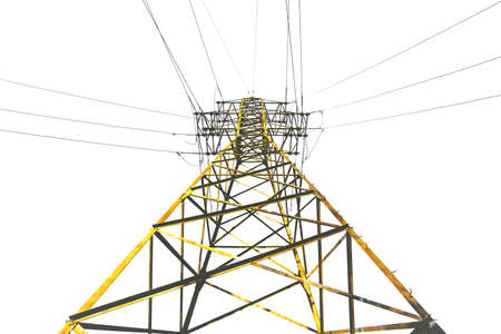 High voltage pole isolated on white
