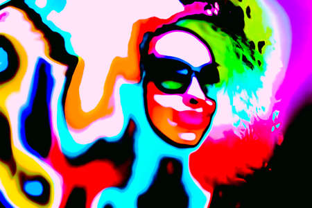 Pop art woman with glasses in event. Style watercolor Banco de Imagens - 132011372