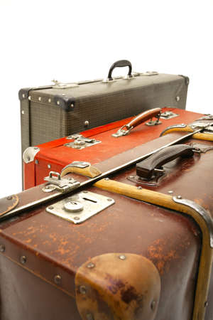 Suitcases on white