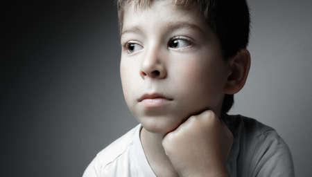 Portrait of handsome boy on gray background Stok Fotoğraf