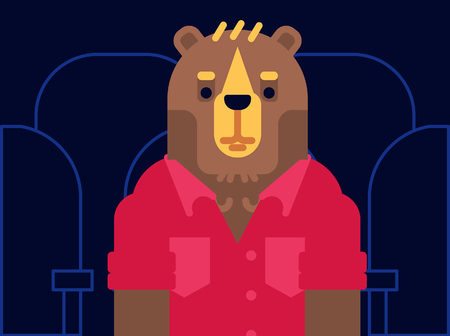 Grizzly Bear in the cinema. Character for your print or website. Flat vector illustration. Vectores