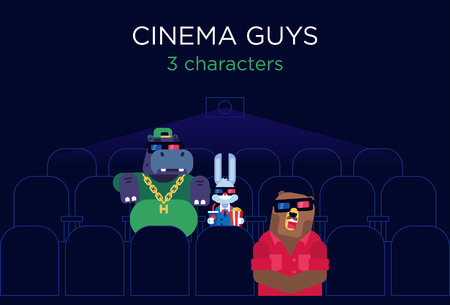 snore: Just typical situation in cinema. Small and cute rabbit, big fat boss Hippo, sleepy Bear. Characters for your print or website. Flat vector illustration. Illustration