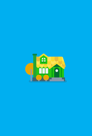 Flat design. Cute colorful sunny house. Countryside style. Vector illustration isolated on blue.