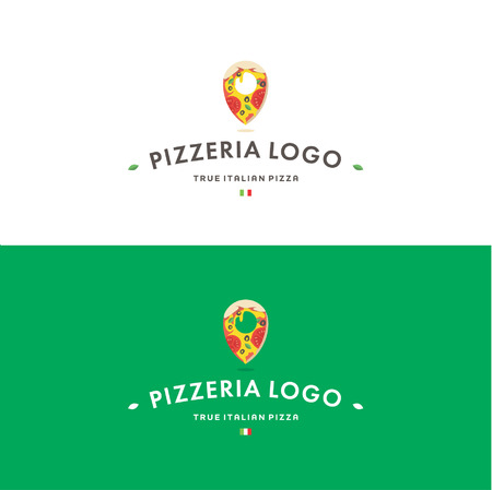 Pizzeria logo template. Tasty delicious pizza and pin with italian flag.