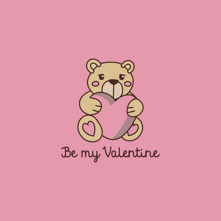 Be my Valentine - cute bear with big heart. Flat vector illustration.