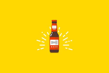 Bierfles die op geel. Vector kleurrijke flat illustratie.