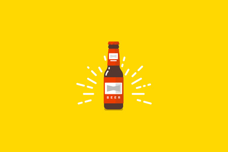 Beer bottle isolated on yellow. Vector colorful flat illustration.