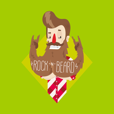 informal: Rock and Beard! Informal man in plaid shirt. Flat and vector. Funny illustration in unique author style.