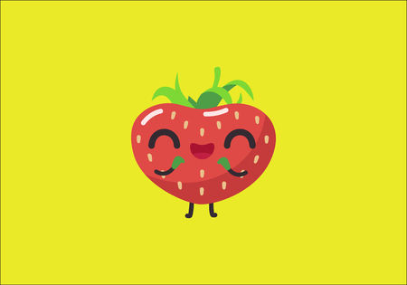 closed eyes: Cute strawberry character. Happy fruit with closed eyes isolated on yellow. Flat vector illustration.