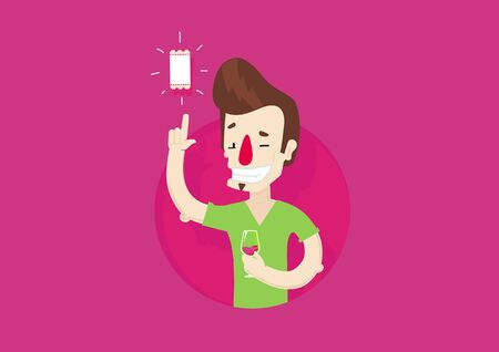 Wow ticket. Winking man flat character. Vector colorful illustration